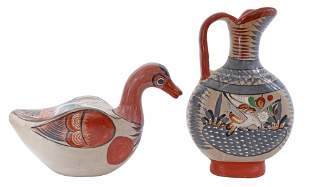 (2) MEXICAN TONALA FOLK ART POTTERY EWER & DUCK
