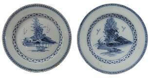 (2) ENGLISH DELFT BLUE & WHITE CHINOISERIE PLATES