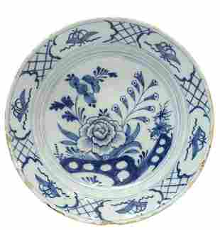 """DELFT BLUE & WHITE CHINOISERIE CHARGER, 12""""DIAM"""