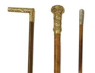 (3) VICTORIAN CANES & WWII-ERA RAMC SWAGGER STICK