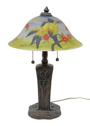 REVERSE PAINTED TWO LIGHT TABLE LAMP, LATE 20TH C.