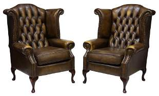(2) QUEEN ANNE STYLE LEATHER WINGBACK ARMCHAIRS