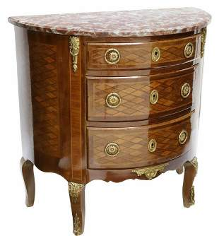 FRENCH LOUIS XV STYLE DEMILUNE MARBLE-TOP COMMODE