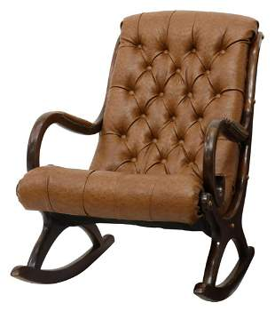 OSTRICH PRINT COWHIDE LEATHER ROCKING CHAIR