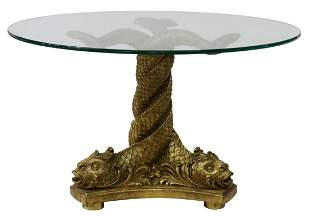 GLASS-TOP GILTWOOD DOLPHINS PEDESTAL TABLE