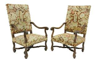 (2) FRENCH LOUIS XIV STYLE TAPESTRY FAUTEUILS