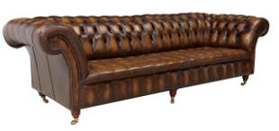 ENGLISH BUTTONED BROWN LEATHER CHESTERFIELD SOFA