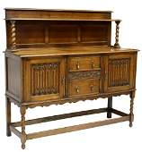ENGLISH GOTHIC REVIVAL CARVED OAK SIDEBOARD