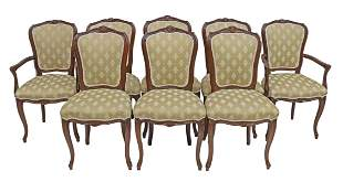 (8) LOUIS XV STYLE WALNUT DINING CHAIRS