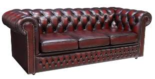 ENGLISH BUTTONED OXBLOOD LEATHER CHESTERFIELD SOFA