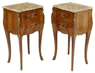 (2) LOUIS XV STYLE MARBLE-TOP MAHOGANY NIGHTSTANDS
