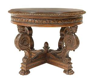 RENAISSANCE REVIVAL CARVED WALNUT CENTER TABLE