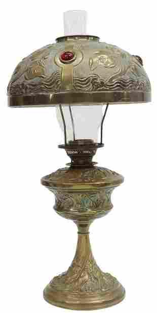 BRADLEY & HUBBARD (ATTRIB.) KEROSENE BRASS LAMP