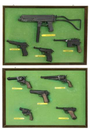 (2) FRAMED UNIWERK ITALY MINIATURE MODEL FIREARMS