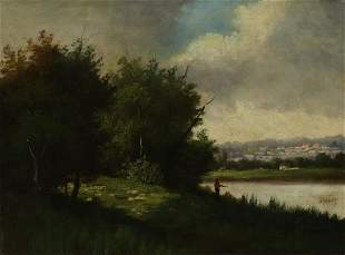 LOUIS HENRY FRENCH LANDSCAPE WITH FISHERMAN