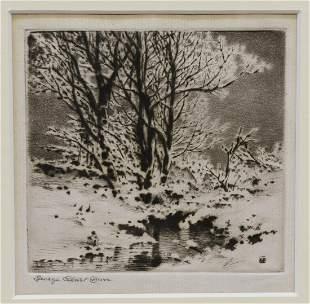 GEORGE ELBERT BURR (1859-1939) WINTER SNOW ETCHING