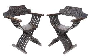 (2) CONTINENTAL SLATTED CURULE ARMCHAIRS