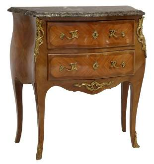 FRENCH LOUIS XV STYLE MARBLE-TOP BOMBE COMMODE