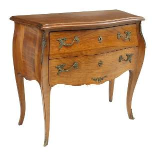 FRENCH LOUIS XV STYLE FRUITWOOD BOMBE COMMODE