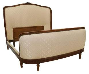 FRENCH LOUIS XVI STYLE UPHOLSTERED MAHOGANY BED