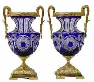 (2) MARTIN BENITO ORMOLU-MOUNTED GLASS VASES