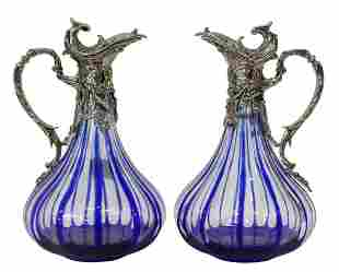 (2) MARTIN BENITO COBALT-CUT-TO-CLEAR GLASS EWERS