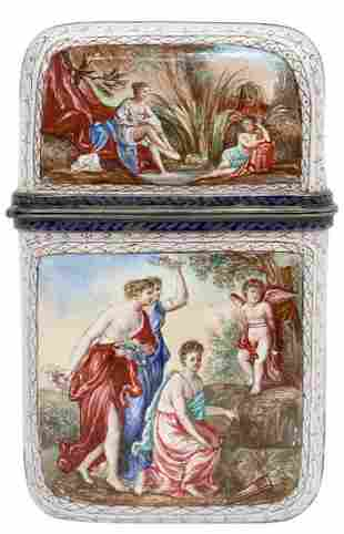 FINE FRENCH NEOCLASSICAL ENAMELED CARD/ VESTA CASE