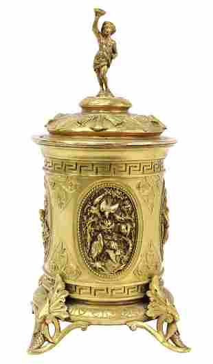 FRENCH NEOCLASSICAL BRONZE DORE LIDDED CANISTER
