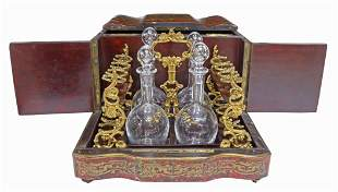 NAPOLEON III BOULLE CAVE A LIQUOR BACCARAT SET