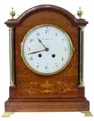 TIFFANY & CO. MAHOGANY CASED MANTEL SHELF CLOCK