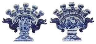 (2) DELFT BLUE & WHITE FAIENCE TULIPIERE VASES
