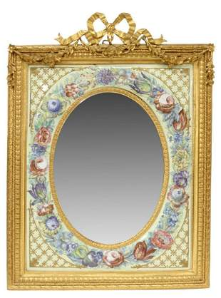 FRENCH DORE BRONZE & PAINTED ENAMEL MIRROR