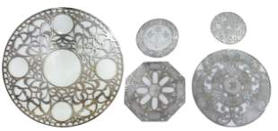 (5) FINE & STERLING SILVER OVERLAY GLASS TRIVETS