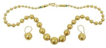 (2) GURHAN ORHAN 24K GOLD BEAD NECKLACE & EARRINGS