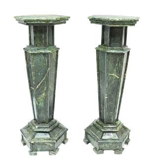 (2) LARGE GREEN STONE PEDESTALS PLANT STANDS