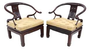 (2) CHINSE HORSESHOE-BACK ROSEWOOD CHAIRS
