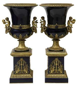 (2) LARGE BRONZE-MOUNTED PORCELAIN GARNITURE URNS