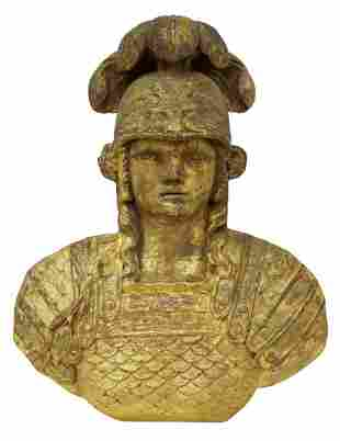 FRENCH CARVED GILTWOOD MINERVA BUST WALL PLAQUE
