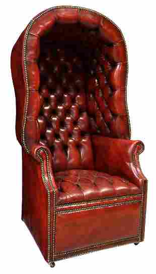 ENGLISH BUTTON-TUFTED LEATHER PORTER'S HALL CHAIR