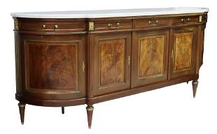 LOUIS XVI STYLE MARBLE-TOP MAHOGANY SIDEBOARD
