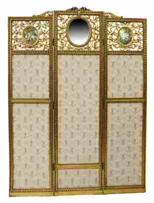 ROCOCO STYLE GILTWOOD THREE-PANEL DRESSING SCREEN