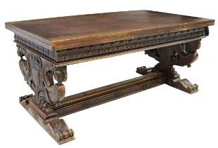 FRENCH RENAISSANCE REVIVAL WALNUT DRAW-LEAF TABLE
