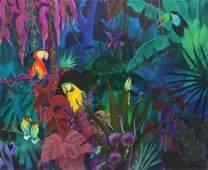 "GUSTAV LIKAN (1912-1998) JUNGLE PARROTS, 50"" x 60"""