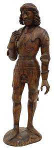 CONTINENTAL CARVED FIGURE KNIGHT, 18TH/ 19TH C.