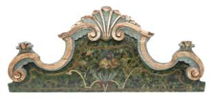 FRENCH PAINT DECORATED ARCHITECTURAL CREST