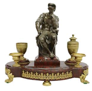 FRENCH BRONZE & ROUGE GRIOTTE ENCRIER DESK STAND