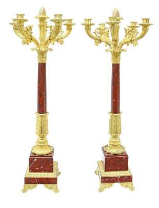 (2) FRENCH BRONZE DORE ROUGE GRIOTTE CANDELABRA