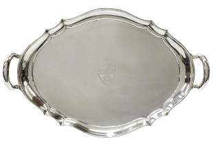 LARGE TIFFANY & CO. STERLING HANDLED ARMORIAL TRAY