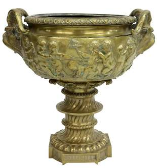 FRENCH NEOCLASSICAL BRONZE PUTTI & SATYRS URN