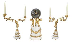 (3) FRENCH BRONZE DORE MARBLE CLOCK & CANDELABRA
